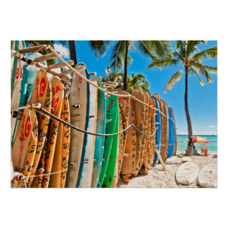 Waikikiのビーチ、ハワイのサーフボード ポスター
