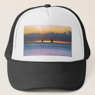 Waikikiの日没の2隻のヨット キャップ