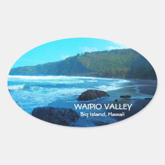 Waipioの谷の大きい島のハワイの景色のステッカー 楕円形シール