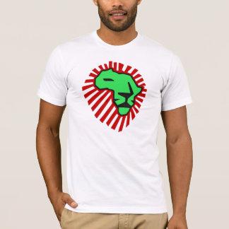 Wakaのwakaの赤い鬣の緑のライオンのアフリカのワイシャツ Tシャツ