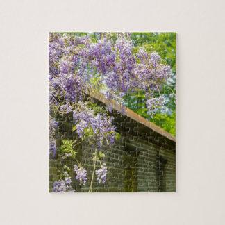 wal長い煉瓦につるす咲く青い藤 ジグソーパズル