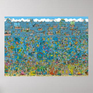 Waldoの深海のダイバーがいるところ ポスター