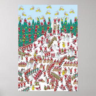 Waldo  の休日の妖精及びSleddingサンタがいるところ ポスター