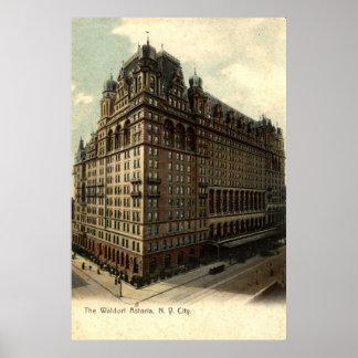 Waldorf Astoria、ニューヨークシティの1908年のヴィンテージ ポスター