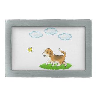 Walking Dog with Butterfly 犬とちょうちょ 長方形ベルトバックル
