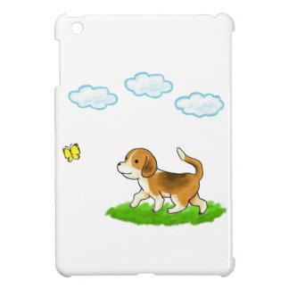 Walking Dog with Butterfly 犬とちょうちょ iPad Miniケース
