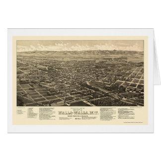 Walla WallaのWAのパノラマ式の地図- 1884年 カード