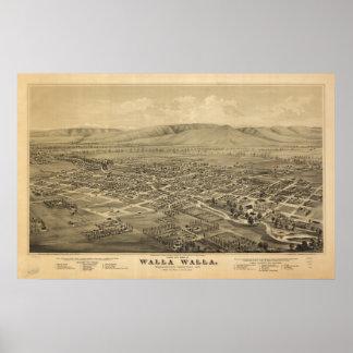Walla Wallaワシントン州1876の旧式なパノラマ式の地図 ポスター