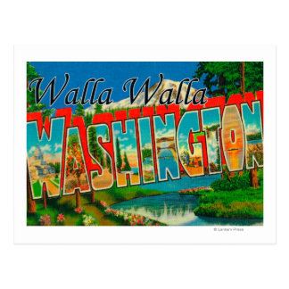 Walla Walla、ワシントン州-大きい手紙場面 ポストカード