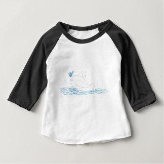 Wallyのクジラのベビー3/4枚の袖のRaglanのTシャツ ベビーTシャツ