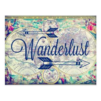 Wanderlustのヴィンテージの地図旅行郵便はがき ポストカード