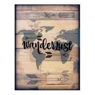 Wanderlust素朴な木製旅行郵便はがき ポストカード