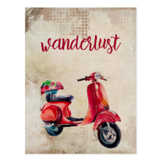 Wanderlust -かわいく赤い水彩画のモペット ポストカード