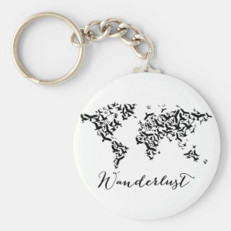 Wanderlust、飛ぶ鳥が付いている世界地図 キーホルダー