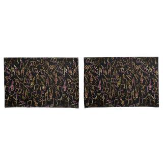Warm Dark Music Note Pillowcase Set 枕カバー