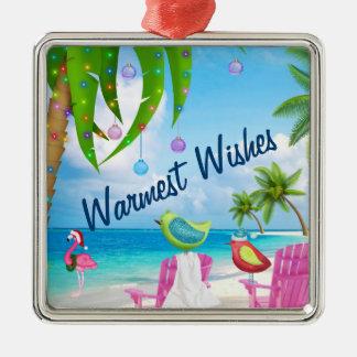 Warmest Wishes, Birds, Palm Trees, Beach Christmas メタルオーナメント