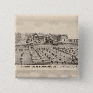 Warringtonの住宅及び農場 5.1cm 正方形バッジ