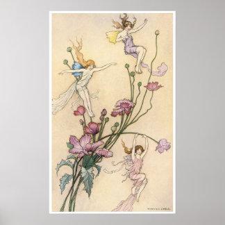 Warwick Goble著喜びのプリントと気違い3つの妖精 ポスター