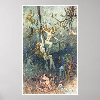 Warwick Goble著海ニンフのプリント ポスター