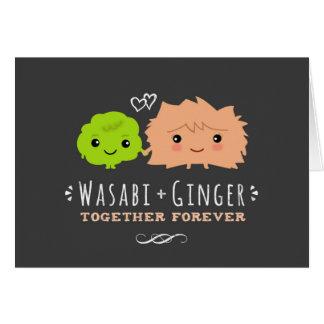 Wasabiおよび永久に一緒のショウガのバレンタインデー カード