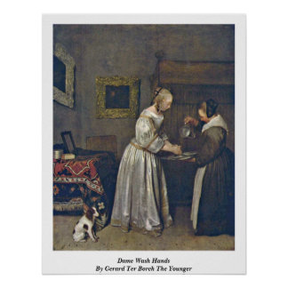 Wash Hands By Gerard Ter Borch貴婦人より若いの ポスター