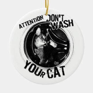 washcat 陶器製丸型オーナメント