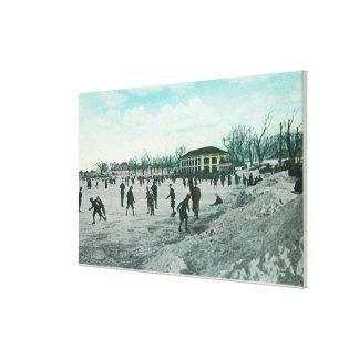 washington湖公園のアイススケート場面 キャンバスプリント