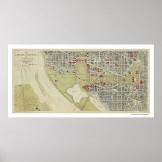 Washington D.C.およびモール1917年の地図 ポスター