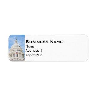 Washington D.C.の米国の国会議事堂のドーム ラベル