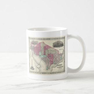 Washington D.C.の1866年のジョンソンの地図 コーヒーマグカップ