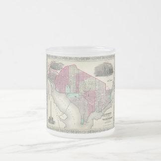 Washington D.C.の1866年のジョンソンの地図 フロストグラスマグカップ