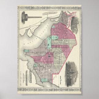 Washington D.C.の1866年のジョンソンの地図 ポスター
