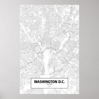 Washington D.C.、米国(白の黒) ポスター