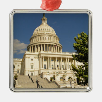 Washington D.C. Capitol Building シルバーカラー正方形オーナメント