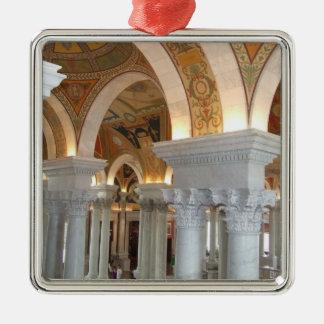 Washington D.C. Ornement国会図書館 シルバーカラー正方形オーナメント