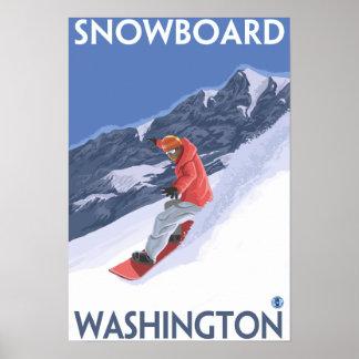 WashingtonSnowboardingのヴィンテージ旅行ポスター ポスター