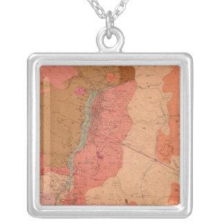 Washoe地区の地質地図 シルバープレートネックレス