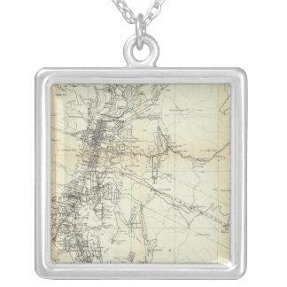 Washoe地区の輪郭の地図 シルバープレートネックレス
