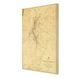 Washoe地区、ネバダの輪郭の地図 キャンバスプリント
