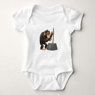 Washtub低音Playinの」チンパンジー ベビーボディスーツ