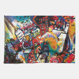 Wassily Kandinsky -モスクワの都市景観の抽象美術 キッチンタオル