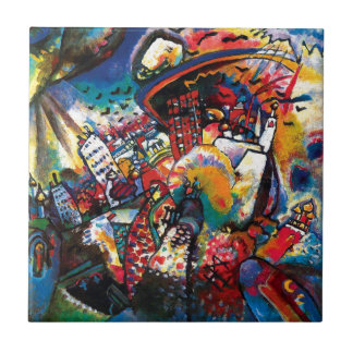 Wassily Kandinsky -モスクワの都市景観の抽象美術 正方形タイル小