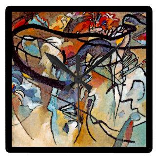 Wassily Kandinsky -構成5の抽象美術 スクエア壁時計