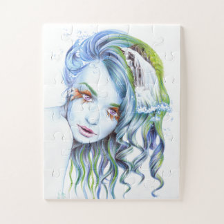 Water mermaid girl surreal portrait art ジグソーパズル
