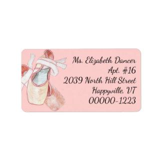 Watercolor Ballerina Pink Slippers Return Address ラベル