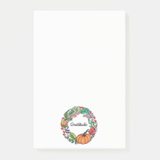 Watercolor Beautiful Pumpkin Wreath with leaves ポストイット