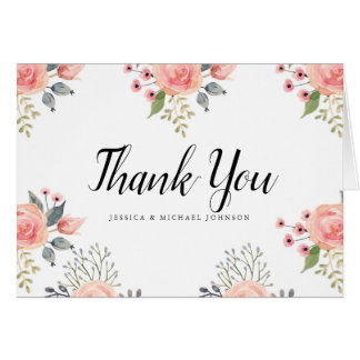Watercolor Blush Flowers Thank You Cards カード