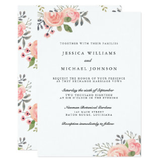 Watercolor Blush Flowers Wedding Invitations カード