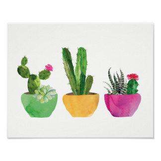 Watercolor Cactus and Succulent Print ポスター