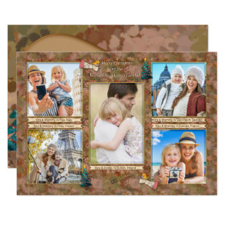 Watercolor Christmas Photo Collage Personalized 12.7 X 17.8 インビテーションカード
